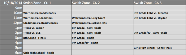 Week 6 - Tournament Schedule